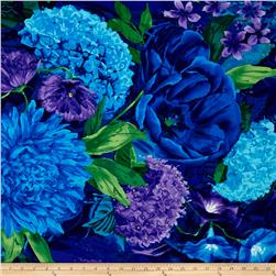 "Timeless Treasures Midnight Large Floral 24"" Panel Midnight"