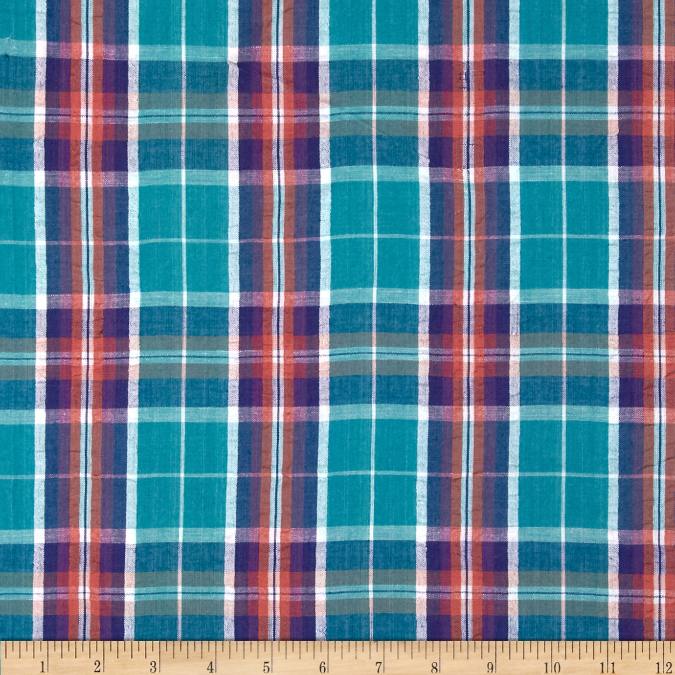 Yarn Dyed Seersucker Plaid Turquoise/Navy