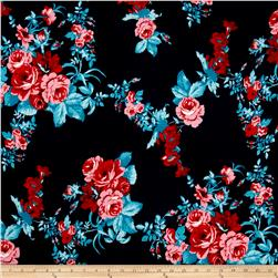 Stretch ITY Knit Pink/Red Roses on Navy