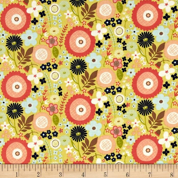 Riley Blake Woodland Spring Floral Green
