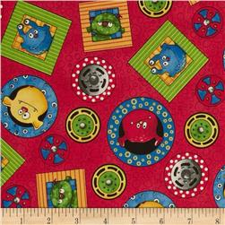 Monster Truck Mania Tossed Medallions Red Fabric