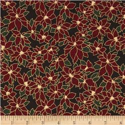 Winter Wishes Poinsettia Metallic Black/Gold/Burgundy