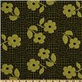 Jacquard Interlock Knit Flowers Lime/Black