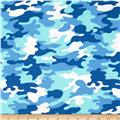 Kaufman Laguna Stretch Jersey Knit Camouflage Nautical Blue
