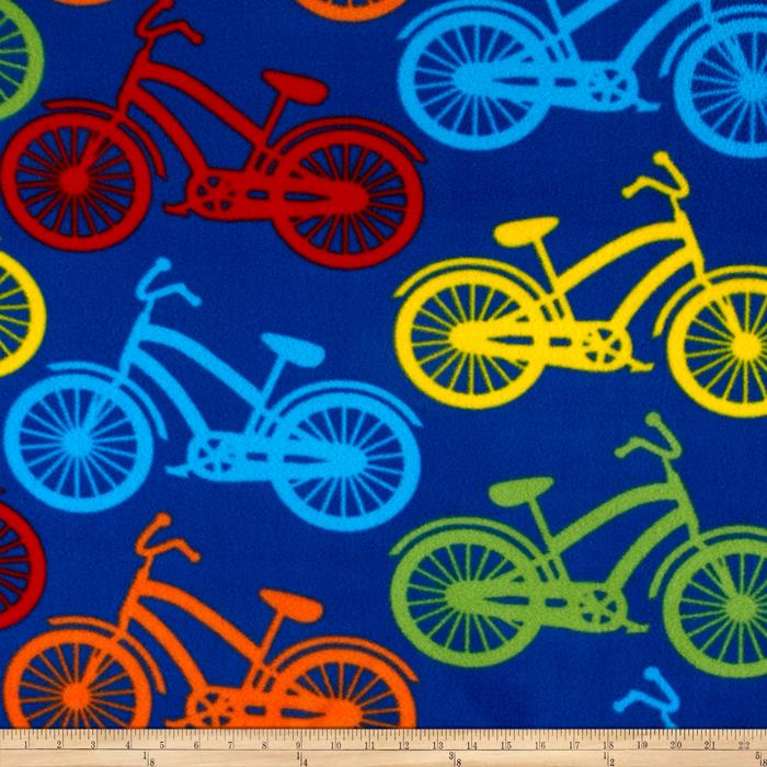 Fleece Bicycle Rows Blue