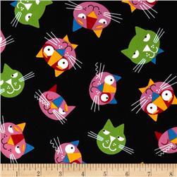 Whiskers & Tails Cats Allover Black Fabric