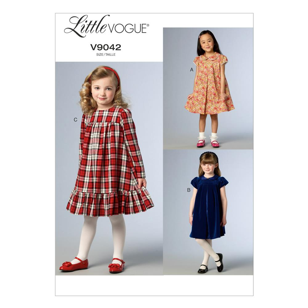 Vogue children 39 s girls 39 dress pattern v9042 size cdd for Childrens dress fabric