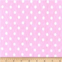 Rihan Jersey Knit Mini White Polka Dots on Pastel Pink