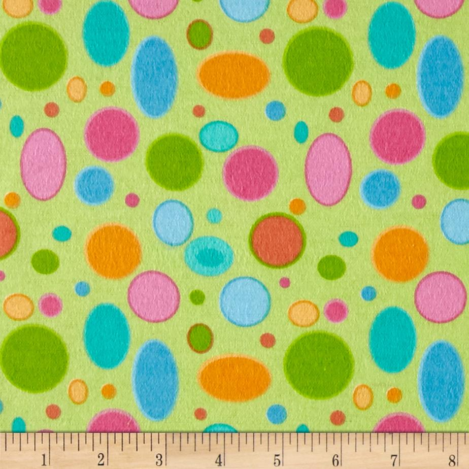Lollipops Flannel Large Dots Green