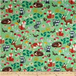 Timeless Treasures Let's Get Nutty Forest Critters Green