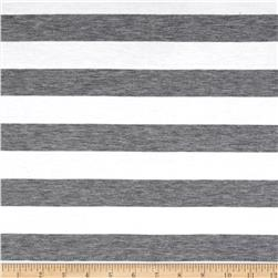 Yarn Dye Jersey Knit Stripe Heather Grey/White