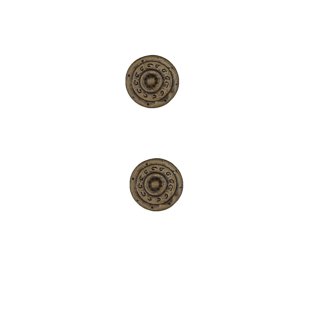 Dill Buttons 5/8'' Full Metal Button Antique Brass