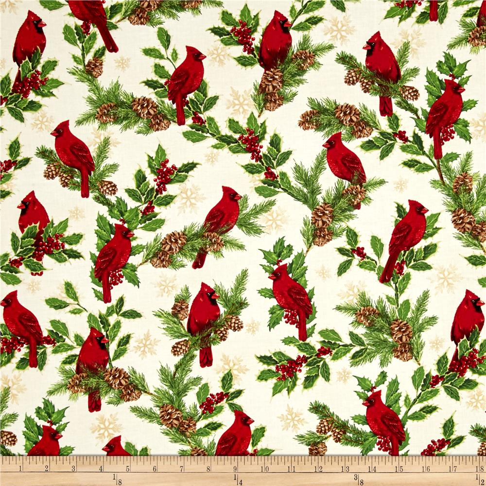 Kaufman Holly Jolly Christmas 5 Cardinals Ivory