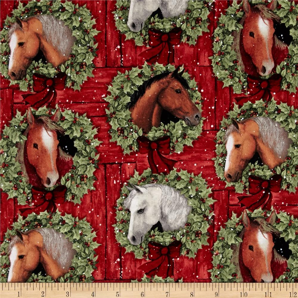 Christmas Welcome Wreath Coordinate Red