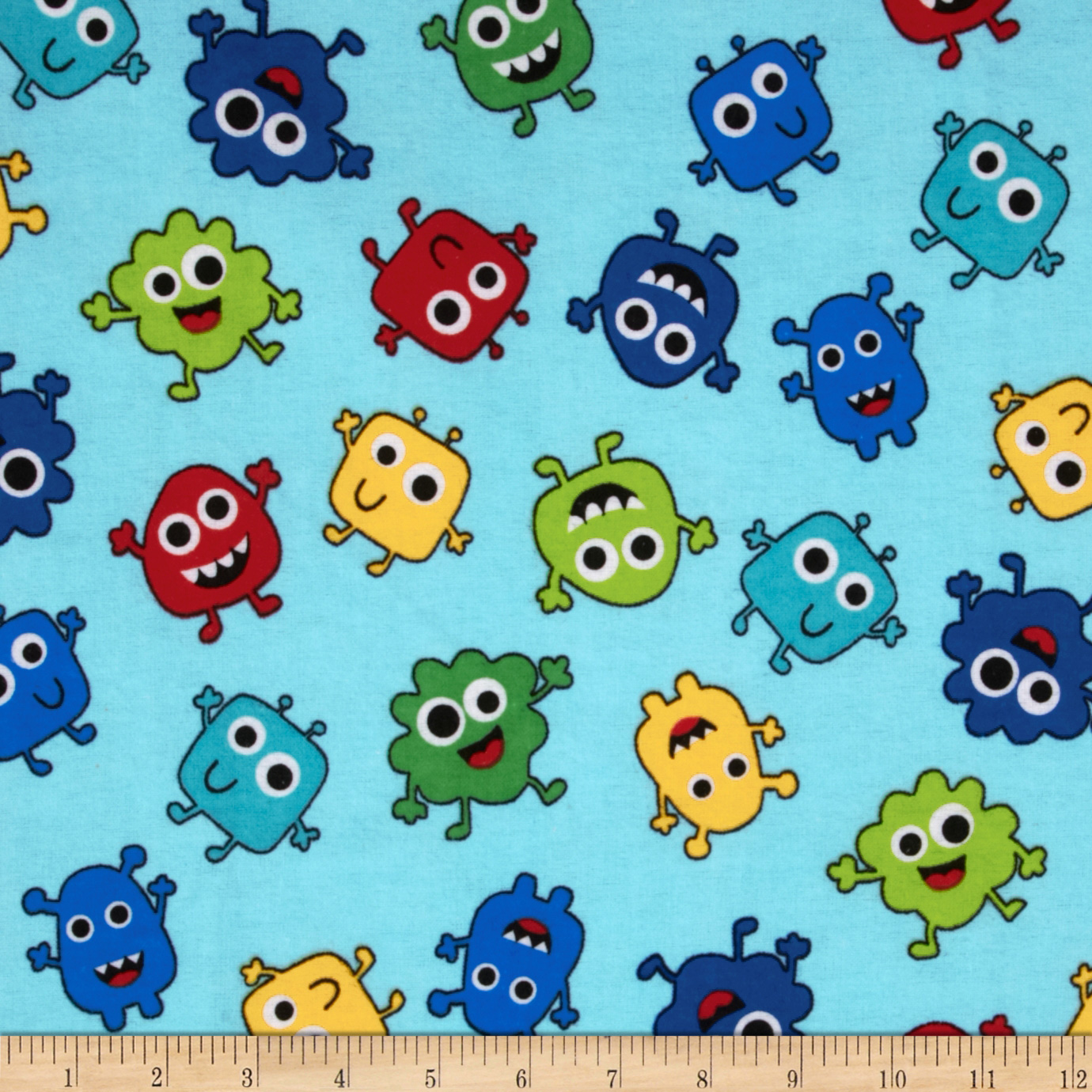 Comfy Flannel Tossed Monsters Blue Fabric