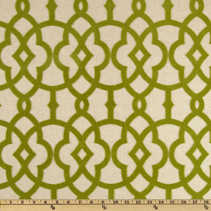 Home Accents Jotto Flocked Olive Green Fabric