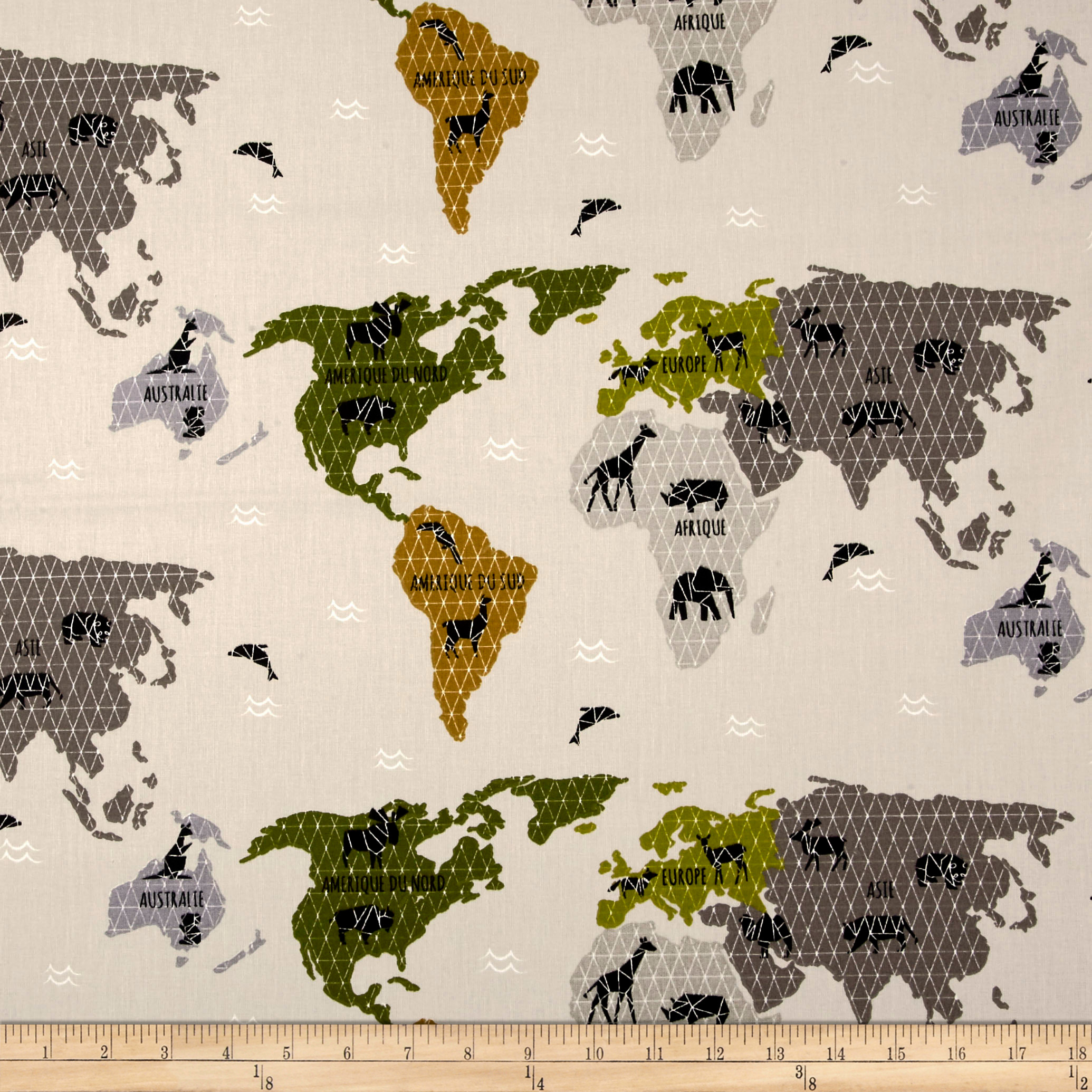 Stof  Enfant Planisphere Green Fabric