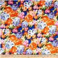 Floral Stretch ITY Knit Royal/Orange/Pink