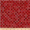 Kaufman Winter's Grandeur 4 Metallics Diamond Grid Red