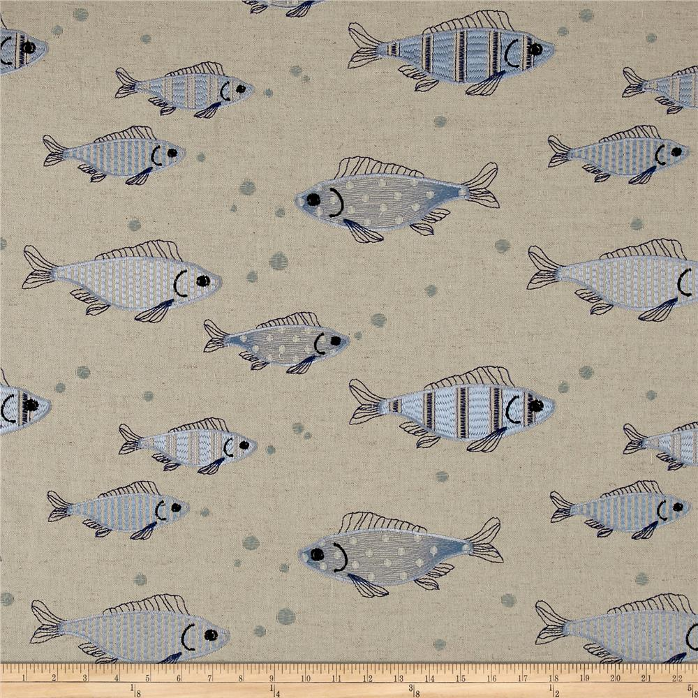 Golding by P Kaufmann Fish Tales Blue/Linen Fabric