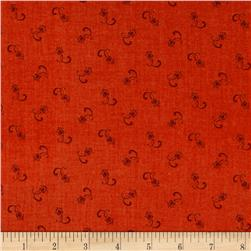 Tulip Festival Ditsy Dark Orange Fabric