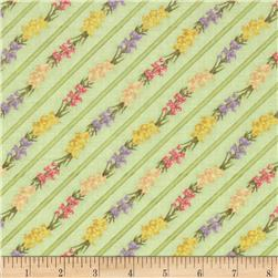Bouquet Gallery Diagonal Flower Stripe Light Green Fabric