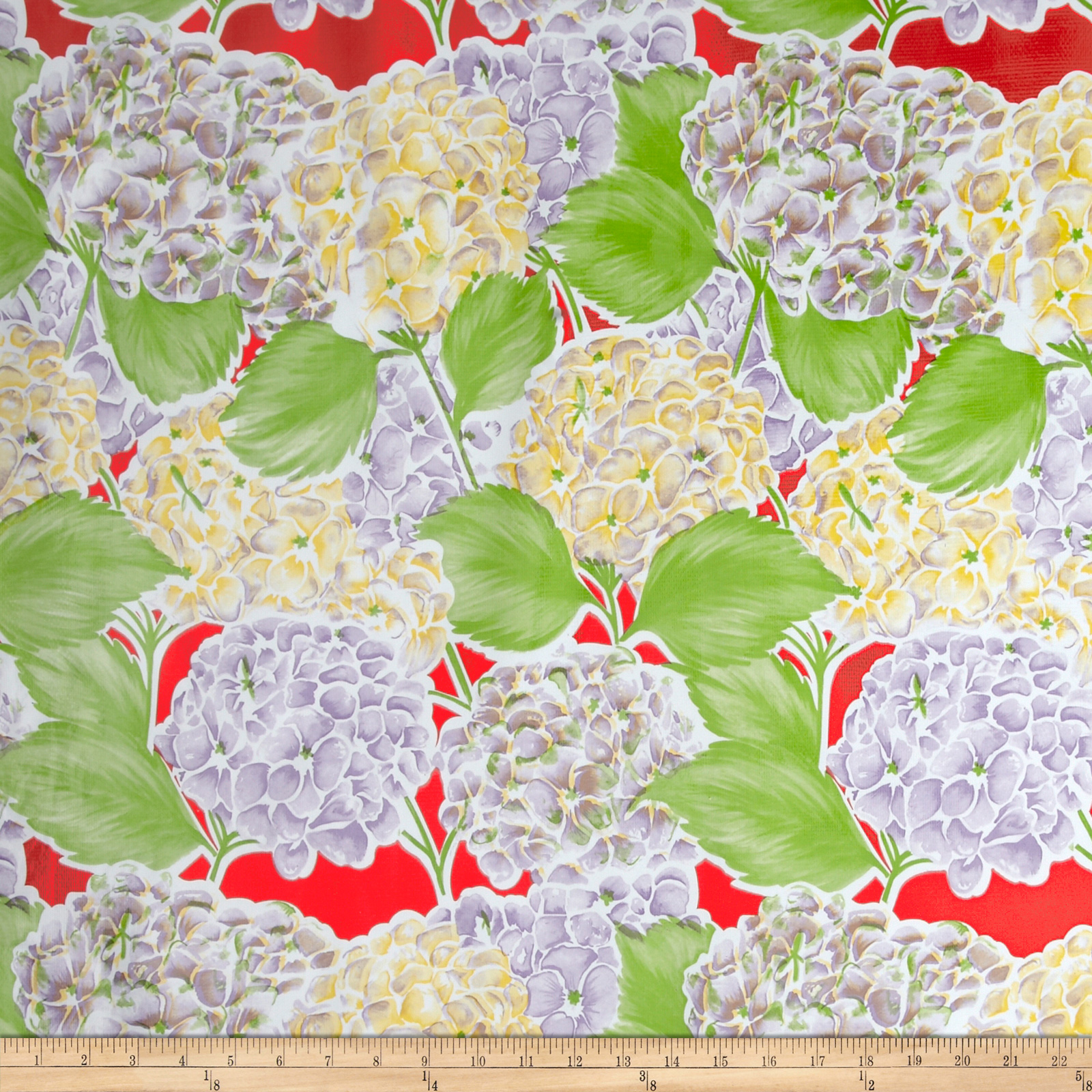 Oilcloth Lille Hydrangea Red Fabric by Oilcloth International in USA