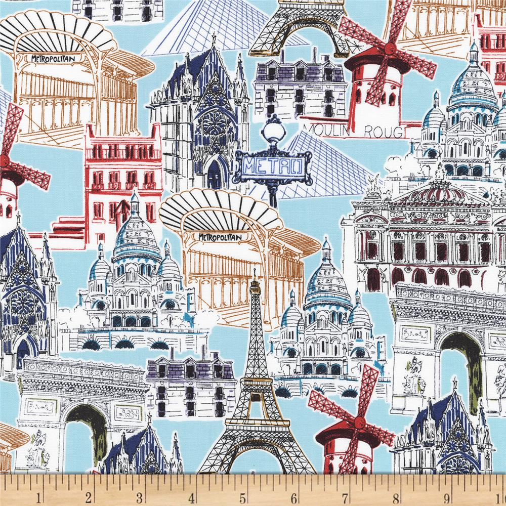 kaufman dream vacation paris collage vintage discount designer fabric. Black Bedroom Furniture Sets. Home Design Ideas