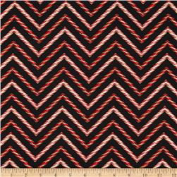 Holly Jolly Christmas Candy Cane Chevron Black Fabric