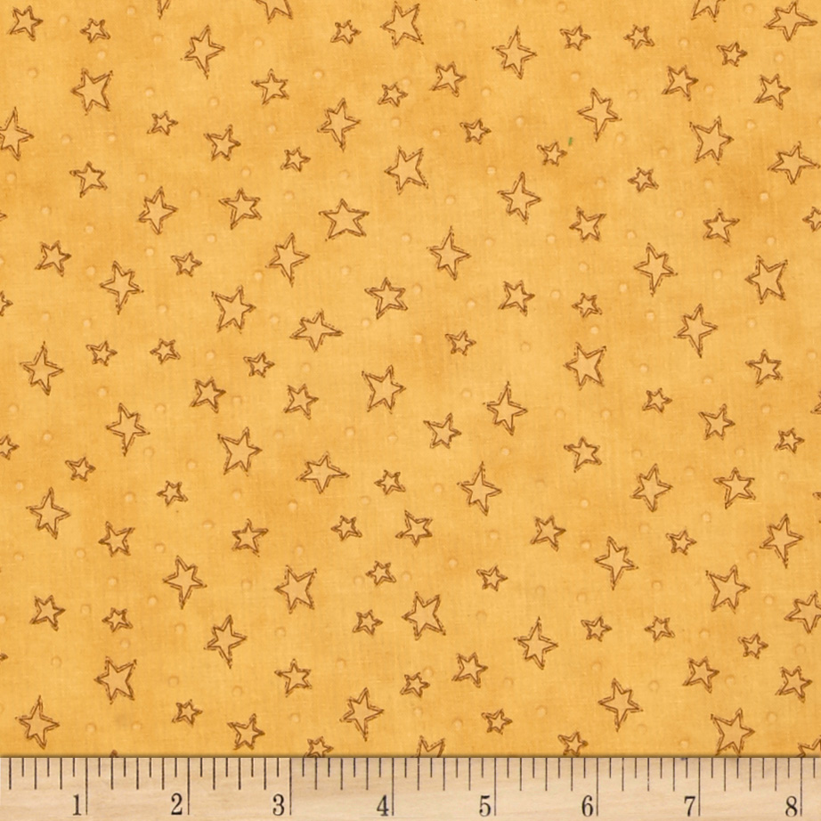 Starry Basic Gold Fabric by Henry Glass in USA