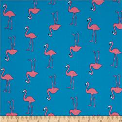 Telio Moda Crepe Pink Flamingos on Aqua