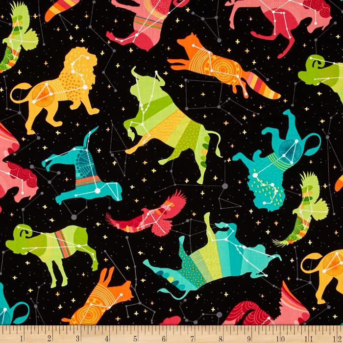 Robert kaufman night sky celestial animals celestial for Night sky print fabric