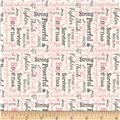 Riley Blake Think Pink Words Cream