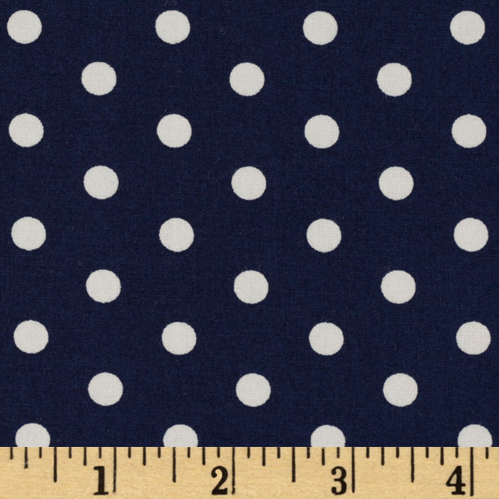 Pimatex Basics Polka Dots Navy Fabric