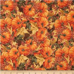 Maple Lane Metallic Packed Pumpkins Brown Fabric