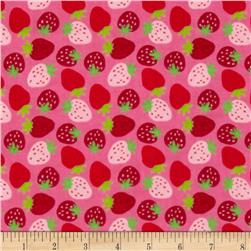 Flannel Strawberries Pink