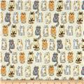 Monet Rayon Sateen Cat Print Ivory/Camel