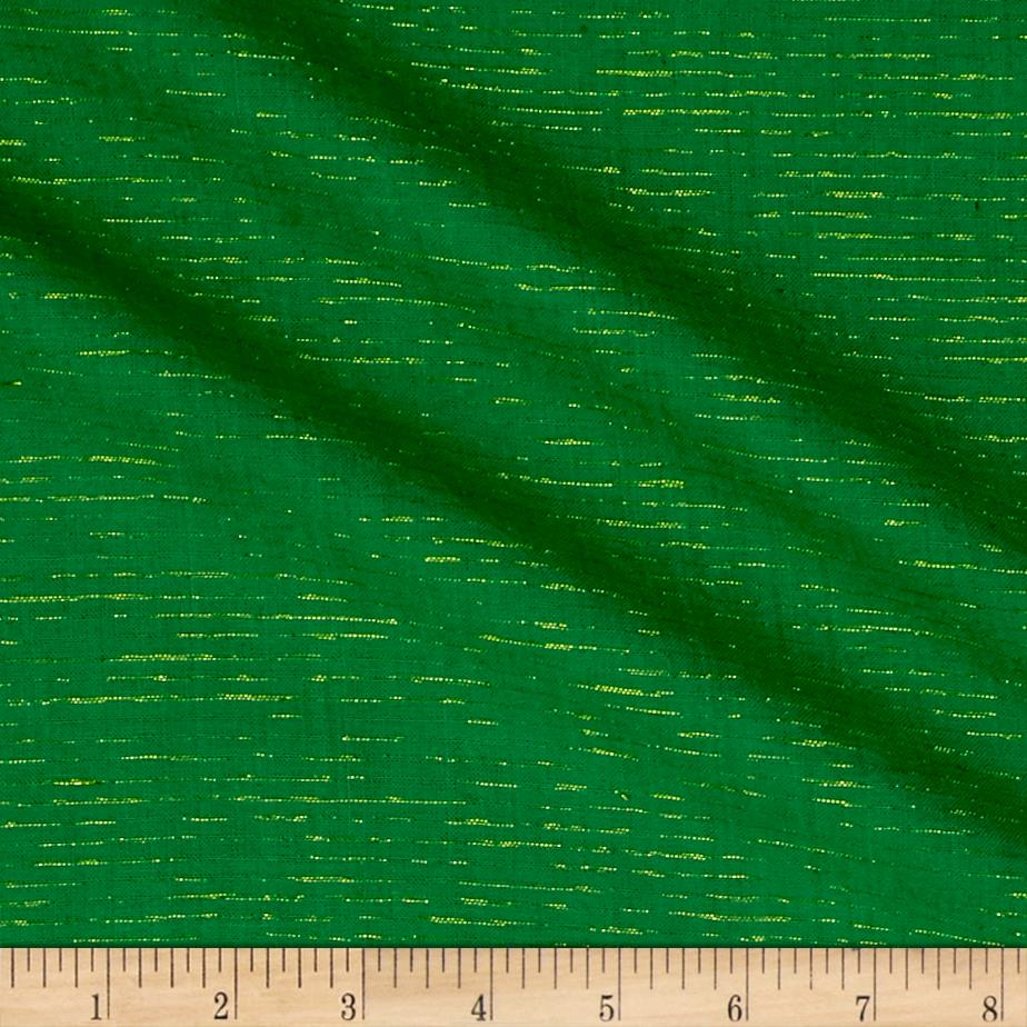 Andover Metallic Chambray Chambray with Lurex Green/Gold