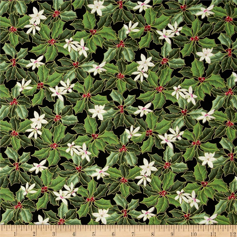 Christmas Star Holly & Flower Black