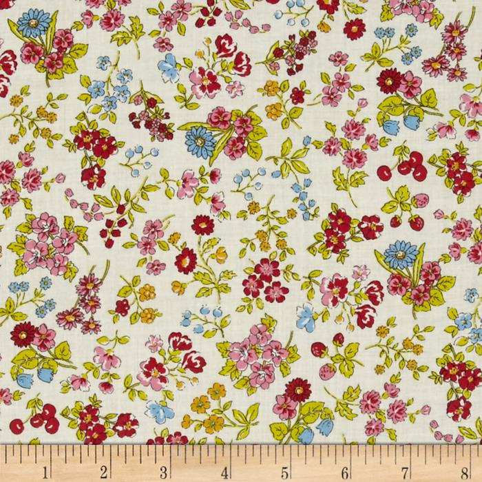 Memore a Paris Cotton Lawn Spring Flowers Packed Red/Pink