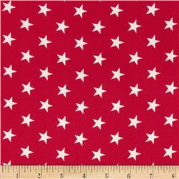 Crepe Georgette Stars Red/White
