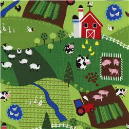 Timeless Treasures Little Farm Scenic Green