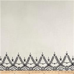 Embroidered Rayon Challis Double Border Ivory/Navy