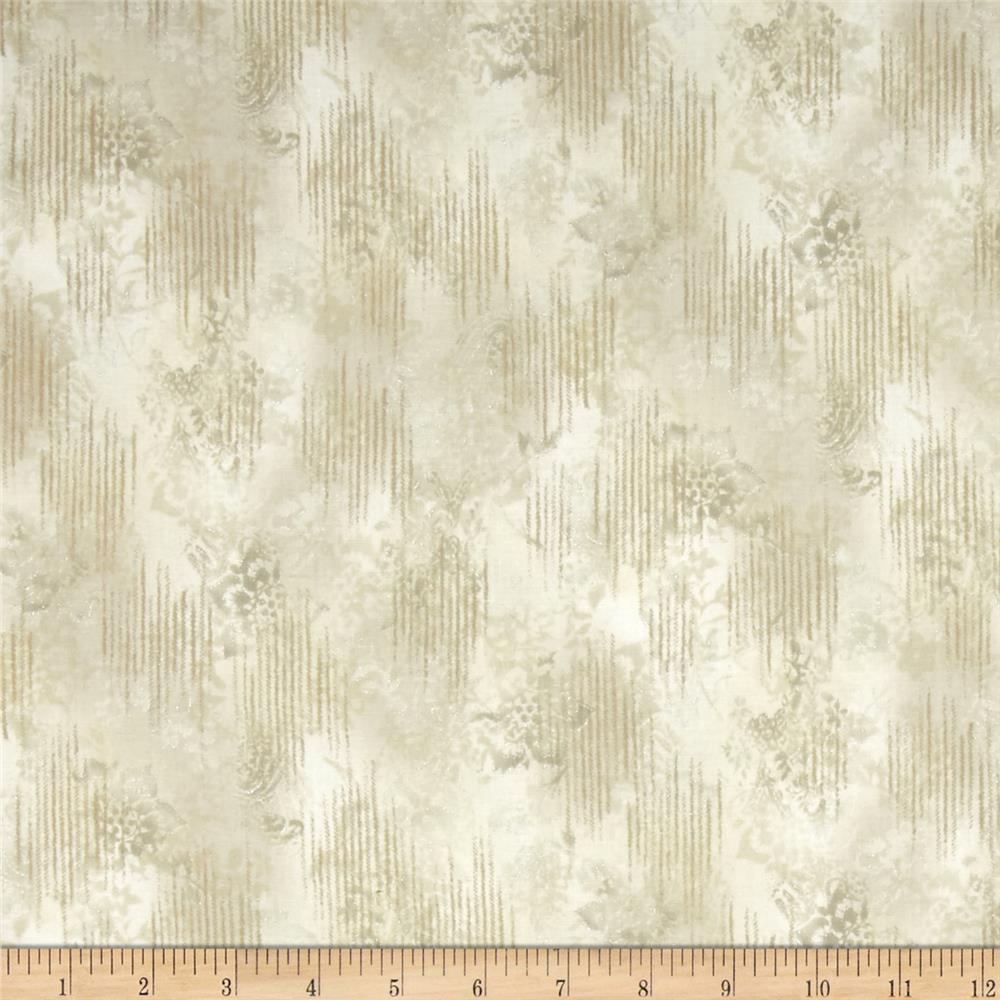 Kaufman Trieste Metallic Hint of Stripe Ivory