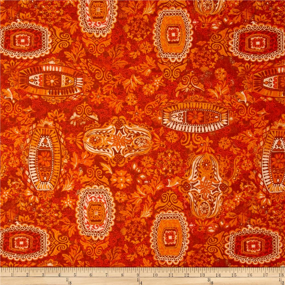 Jakarta Damask Burnt Orange Discount Designer Fabric