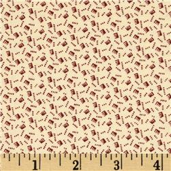 Birds of a Feather Tossed Combs Cream/Red Fabric