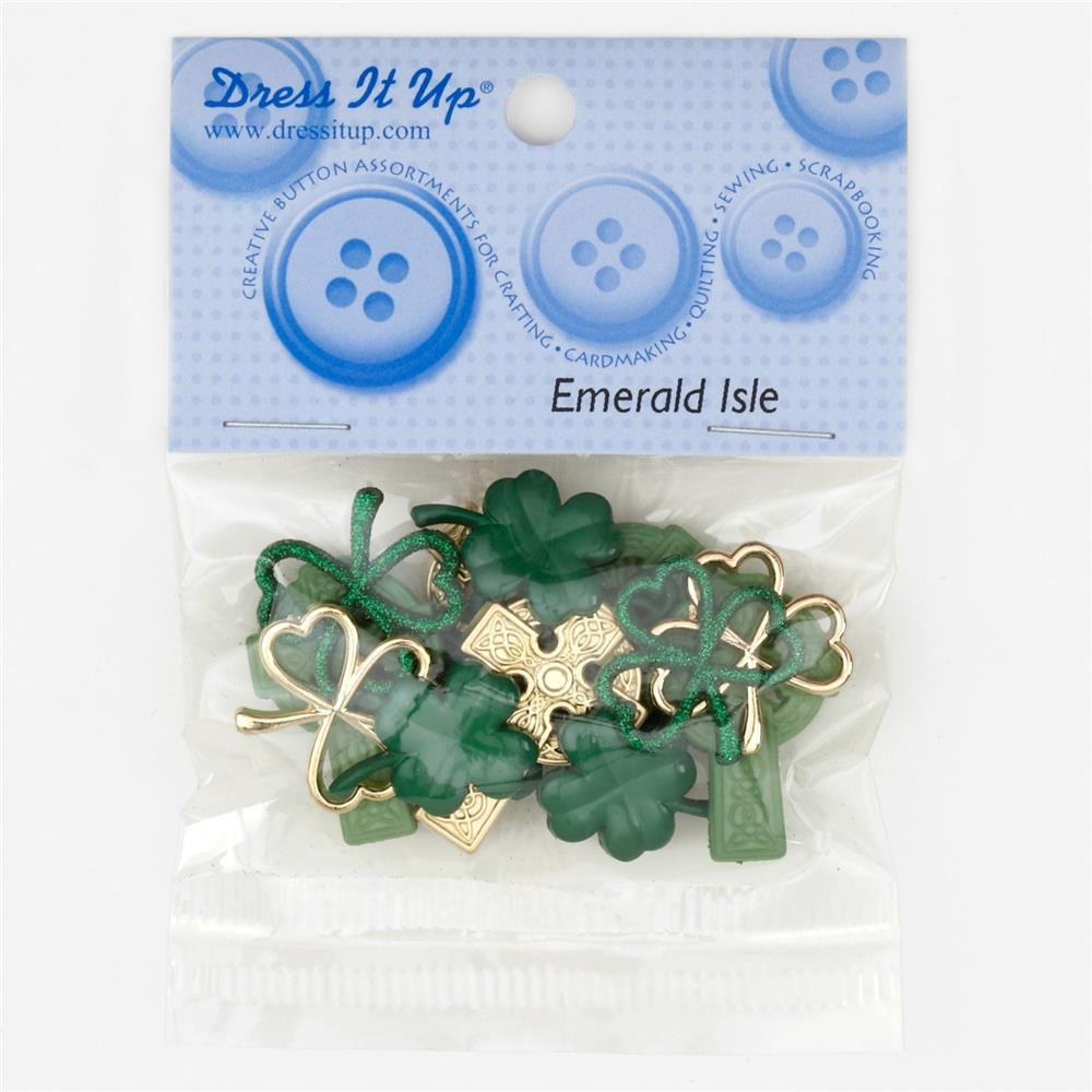 Dress It Up Embellisment Buttons Mm Emerald Isle