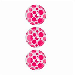"Dill Novelty Button 3/4"" Hot Pink Dot on White"
