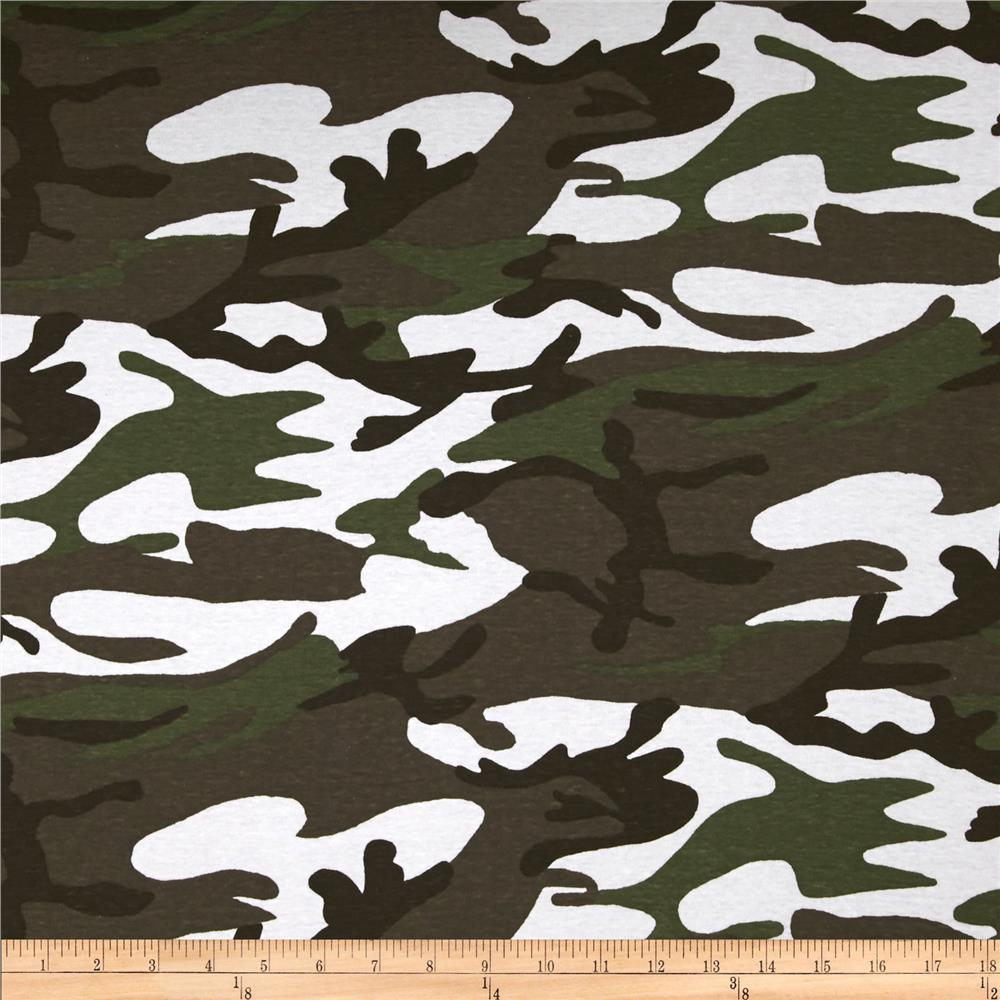 Cotton Interlock Knit Camo Green