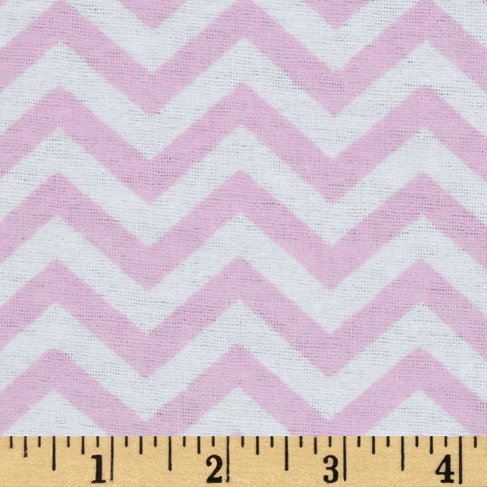 Little Nursery Flannel Chevron Pink/White